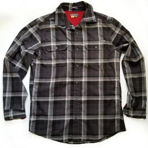 Eddie Bauer plaid flannel button shirt mens M grey